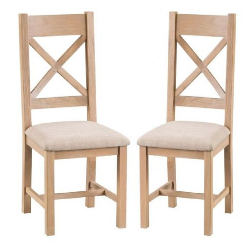 Oxford Oak Cross Back Chair With Upholstered Pad
